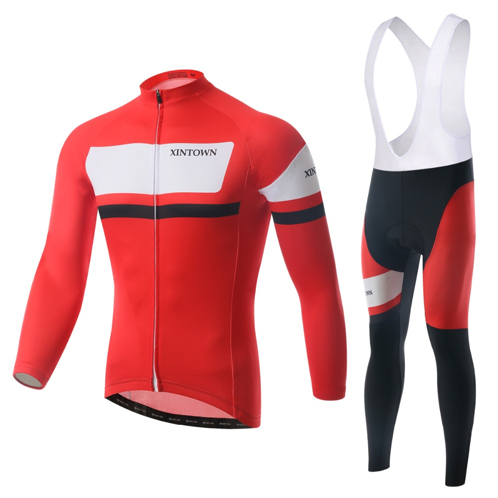 2015 Brand Cycling Jerseys Suits Bib Red Long Sleeve Winter Mens Bike Bicycle Sports Ride Shirts Pants Outdoorwears - Tobe The Best store