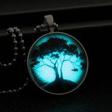 Glowing Pendant Necklace tree of life glass glow in the dark necklace Stainless Steel Chain Luminous necklace women jewelry(China (Mainland))