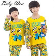 3-12Y Cartoon Minions Pijamas Spring/Autumn Baby Boys Pyjamas Cute Children Clothing Set Girls Pajamas Christmas C50962(China (Mainland))