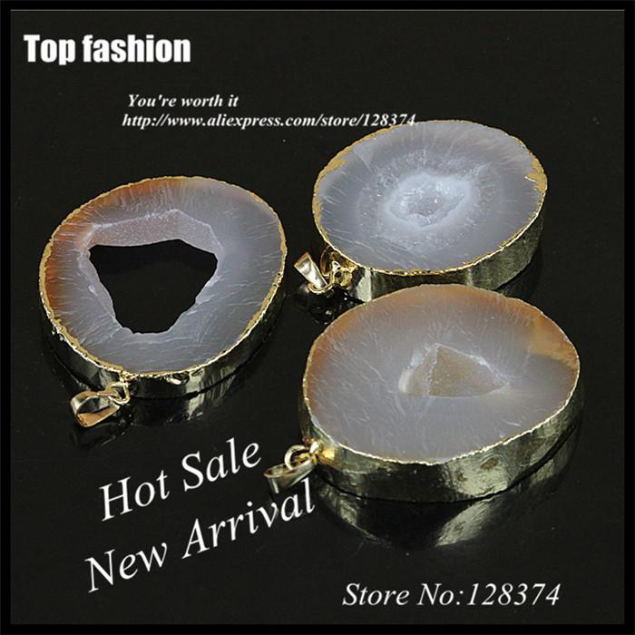 F-001Wholesale White Agate Slice Geode Quartz Stone Pendant with Gold Edge,Semi-precious Druzy Stone Pendant Accessories<br><br>Aliexpress