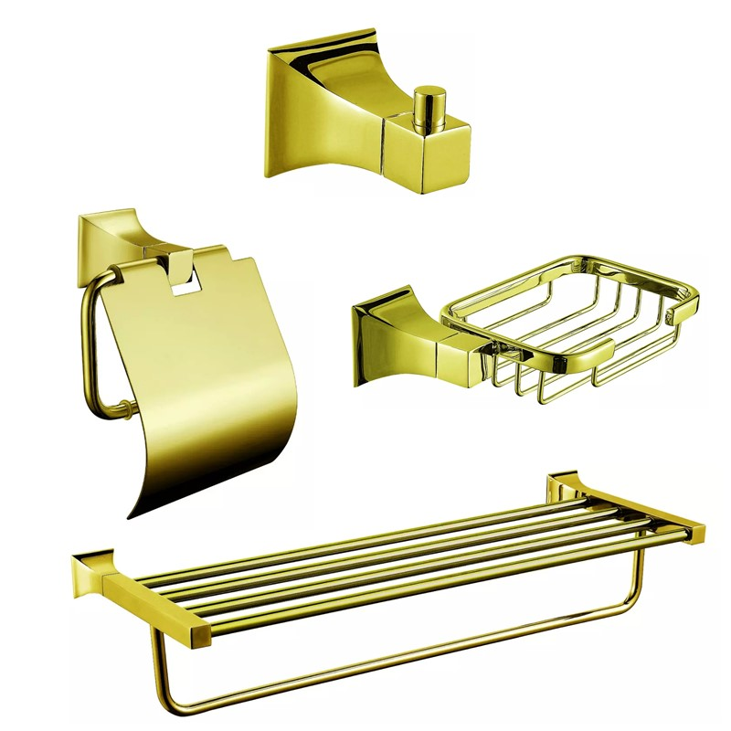 2015 Wholesale New Arrival Luxurious Golden Solid Brass Bathroom 4 Piece Bath Hardware Accessory Set(China (Mainland))
