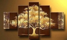 Buy Hand-painted Wall Art Yellow Tree Abstract Oil Painting Canvas Living Room Decor Group Pictures Abstract Canvas Art for $24.19 in AliExpress store