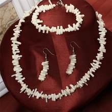 MINHIN תכשיטים סט רב צבעים קורל חרוזים שרשרת שרשרת צמיד להתנדנד עגילי דובאי אופנתי חתונה תכשיטי סטים(China)