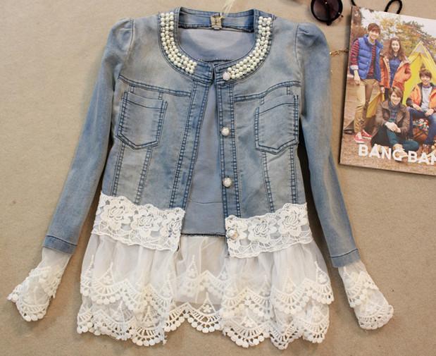 new 2014 spring women outerwear slim lace patchwork long-sleeve denim short jacket lady vintage jeans jacket Coat Free Shipping(China (Mainland))