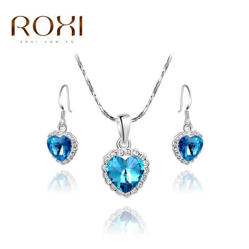 ROXI Christmas Gift Crystal Vintage Set to Girlfriend 100% Man-made Fashion Gold Jewelry Heart Earrings+Necklace for Party<br><br>Aliexpress