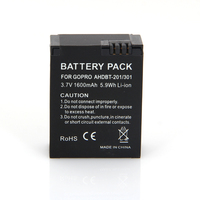 New 100% Original Replacement Rechargeable Battery Portable Charger Camera Battery 7V 1600mAh For GOPRO AHDBT-201/301