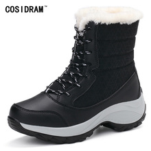 2016 Warm Winter Shoes Snow Boots Women Lace-Up Platform Ankle Boots Rubber Plush Fur Booties Female Fashion Botas Mujer SNE-154(China (Mainland))