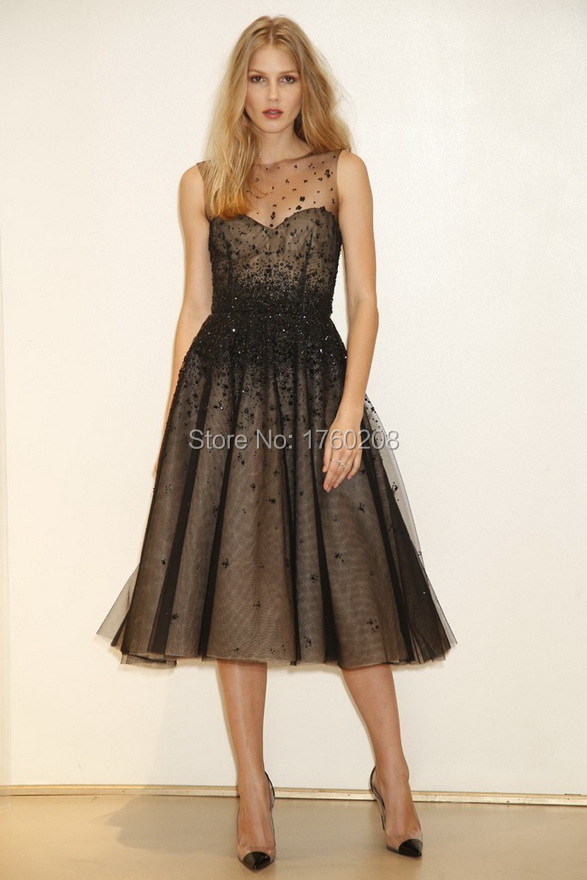 Black Sheer Scoop Short Tulle Beading Mother Of The Bride