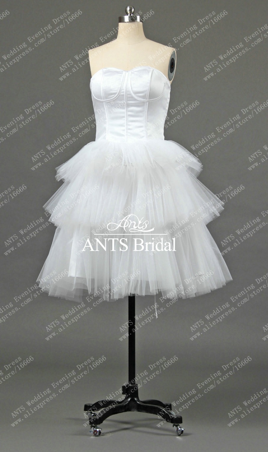 Wedding Dress Short Corset : Rw real new satin tulle white corset short bridal dress