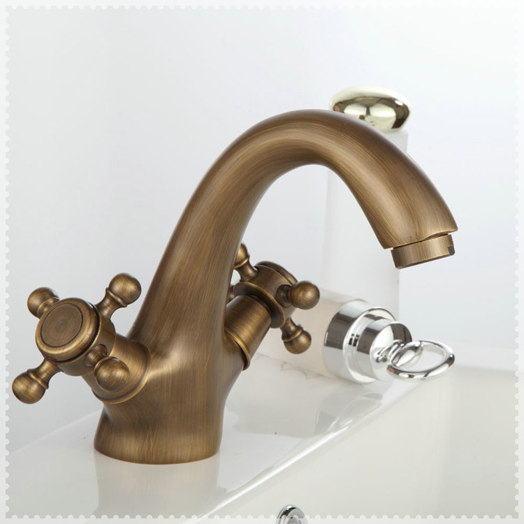 2 handles antique faucets bathroom sink widespread bathroom vanity faucet antique brass torneira Antique brass faucet bathroom