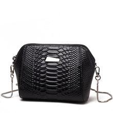 High quality Crocodile PU leather Mini Mobile Phone Bag Simple chain Cross-body Bag Small Brief Women Shell Bag(China (Mainland))
