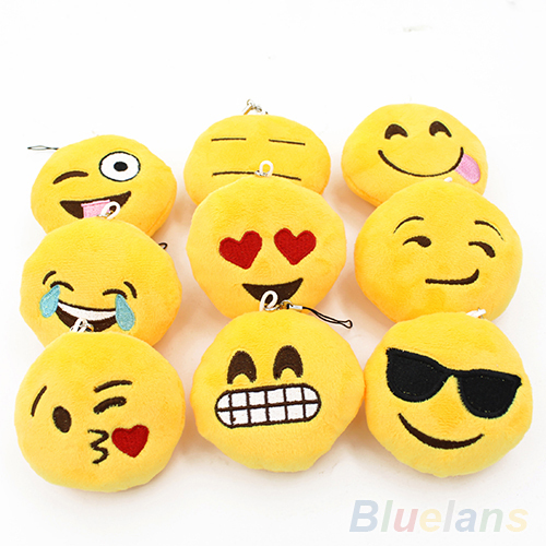 Cute Soft Emoji Smiley Emotion Pendant Yellow Round Plush Toy Doll Ornaments 4CCX(China (Mainland))