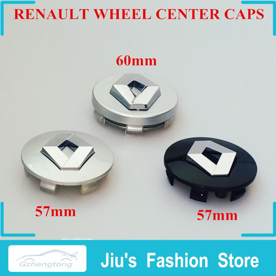 car styling 4x renault 57mm 60mm silver black wheel center. Black Bedroom Furniture Sets. Home Design Ideas