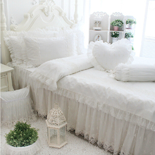 Princess lace 100% cotton bedding sets,girl twin full queen king european luxury bed clothes bedshirts pillow case duvet cover(China (Mainland))