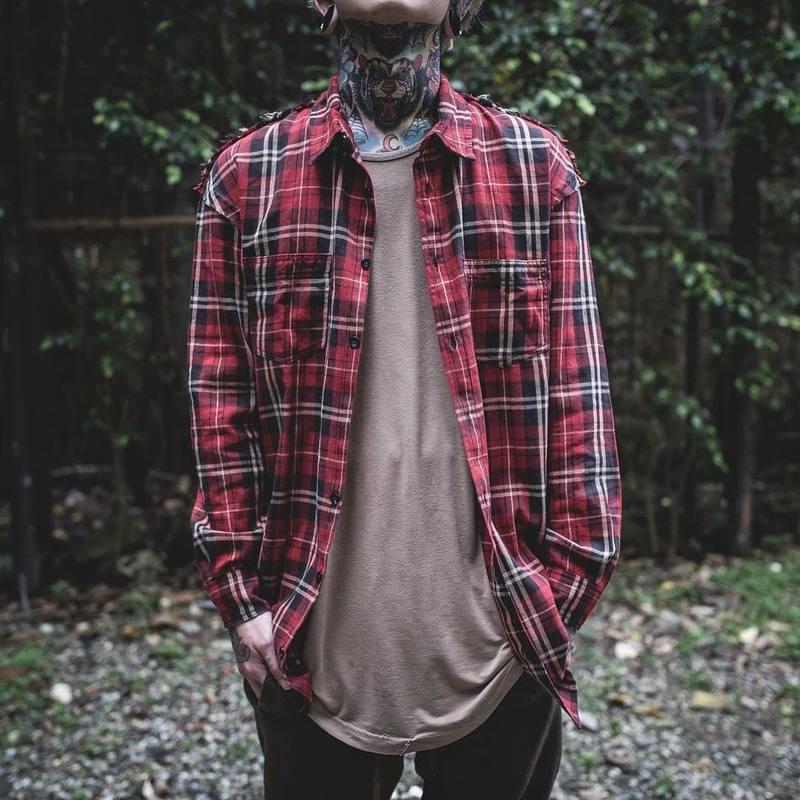 Fear Of god long Sleeve Brushed Red font b Tartan b font casual shirt tyga hiphop