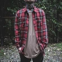 Fear Of god long Sleeve Brushed Red Tartan casual shirt tyga hiphop streetwear men's plaid check flannel shirt