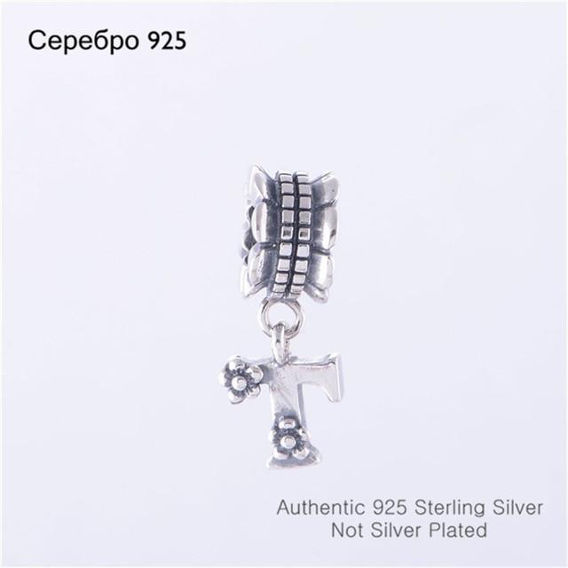 Прямая поставка горячая распродажа 925 буквица алфавит т мотаться шарм бусины , пригодный для европейской браслет DIY создание