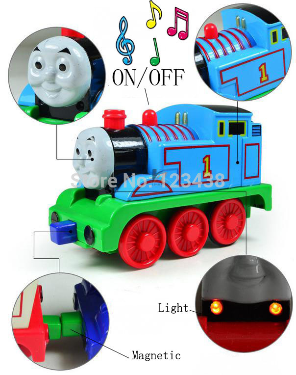 Metal Alloy Musical with Flash Light Motorized Thomas Leading Actor and Friends Pullback Model Diecast, 11*6*5cm(China (Mainland))