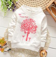 2016 new arrival  rose white hoodies kids girl tree hoodies coat 0-2Y .hoodies and sweatshirts baby girl clothes(China (Mainland))