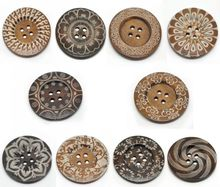 """20PCs Mixed Pattern 4 Holes Wood Big Sewing Buttons for Sweater Overcoat Clothing 6cm(2 3/8"""") Mr.Jewelry(China (Mainland))"""