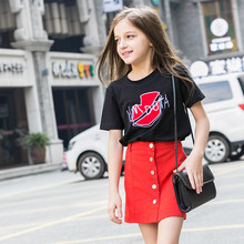 2016 Latest Fashion Kids Summer T Shirt Baby Girl Black Red Lip Teenager T-shirts Age 4 5 6 7 8 9 10 11 12 13 14T Years Old Teen - Shally's Shop store