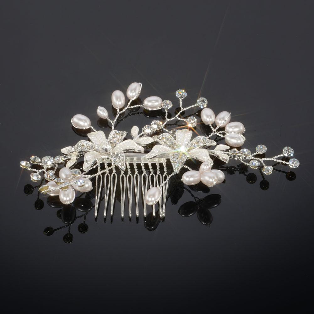 Free Shipping Women Beauty Crystal Rhinestone Petal Tuck Comb Peach Blossom Hair Clip(China (Mainland))
