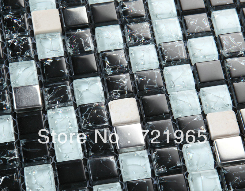 Decor mesh glass mosaic mix stone marble wholesale kitchen for Installing glass tile with mesh back