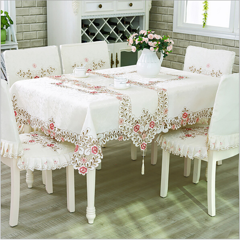 European Luxury Polyester Embroidery Floral Tablecloth Hotel Home Wedding Party Lace Edge Table Cover Decorative Hot Sale(China (Mainland))