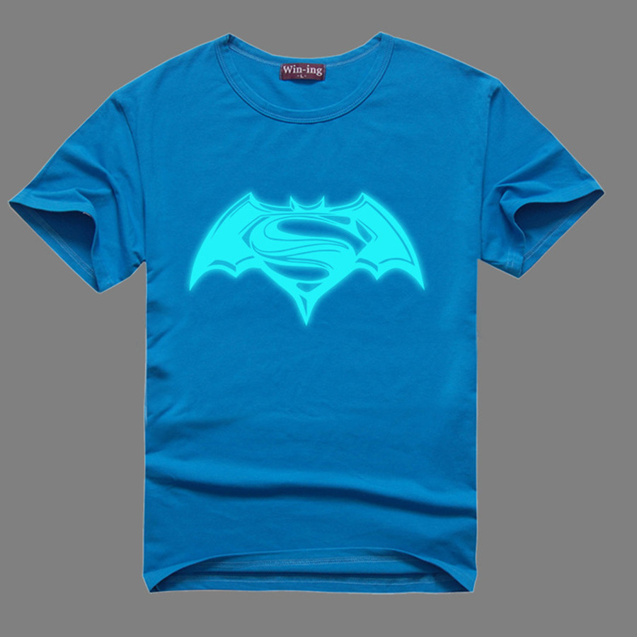 Batman VS Superman T Shirts Women/Men New Movie Dawn of Justice Gloden Noctilucence Printed Lovers Short Sleeve Cotton T-shirt(China (Mainland))