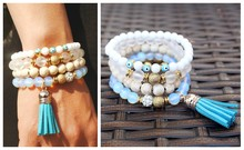 2016 new white stone beads multi layer bracelet bangles vintage jewelry boho style tassel bangles women for party jewlery(China (Mainland))