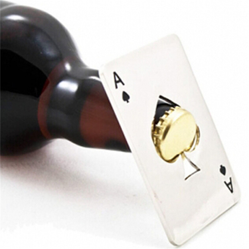 New Stylish Hot Sale 1pc Poker Playing Card Ace of Spades Bar Tool Soda Beer Bottle Cap Opener Gift(China (Mainland))