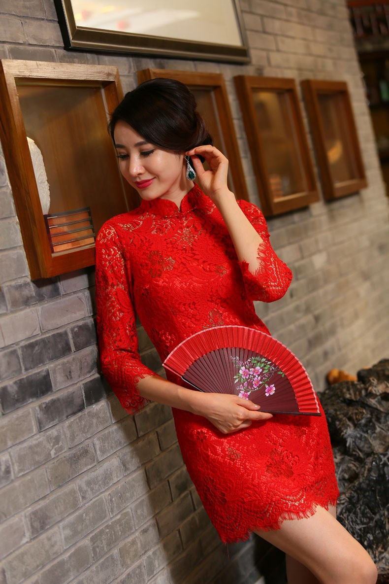 มาใหม่ลูกไม้สตรีมินิC Heongsamแฟชั่นจีนสไตล์การแต่งกายที่สวยงามบางQipaoรสเสื้อผ้าขนาดSml XL XXL F072613 ถูก