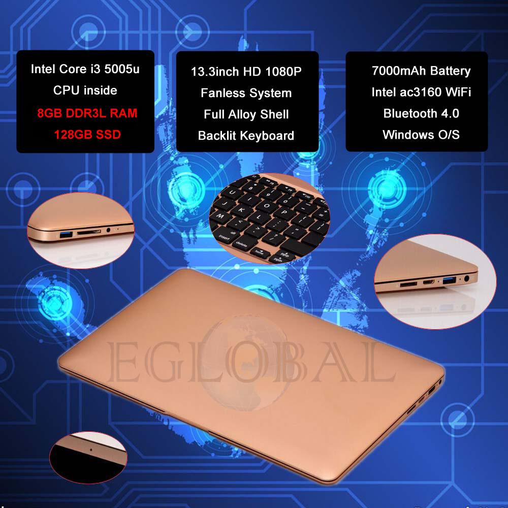 DIY LOGO! Light Thin Netbook Laptop Eglobal 8GB RAM 128GB SSD Grahpic Display Screen SD Card reader 433M WiF Free Shipping!(China (Mainland))