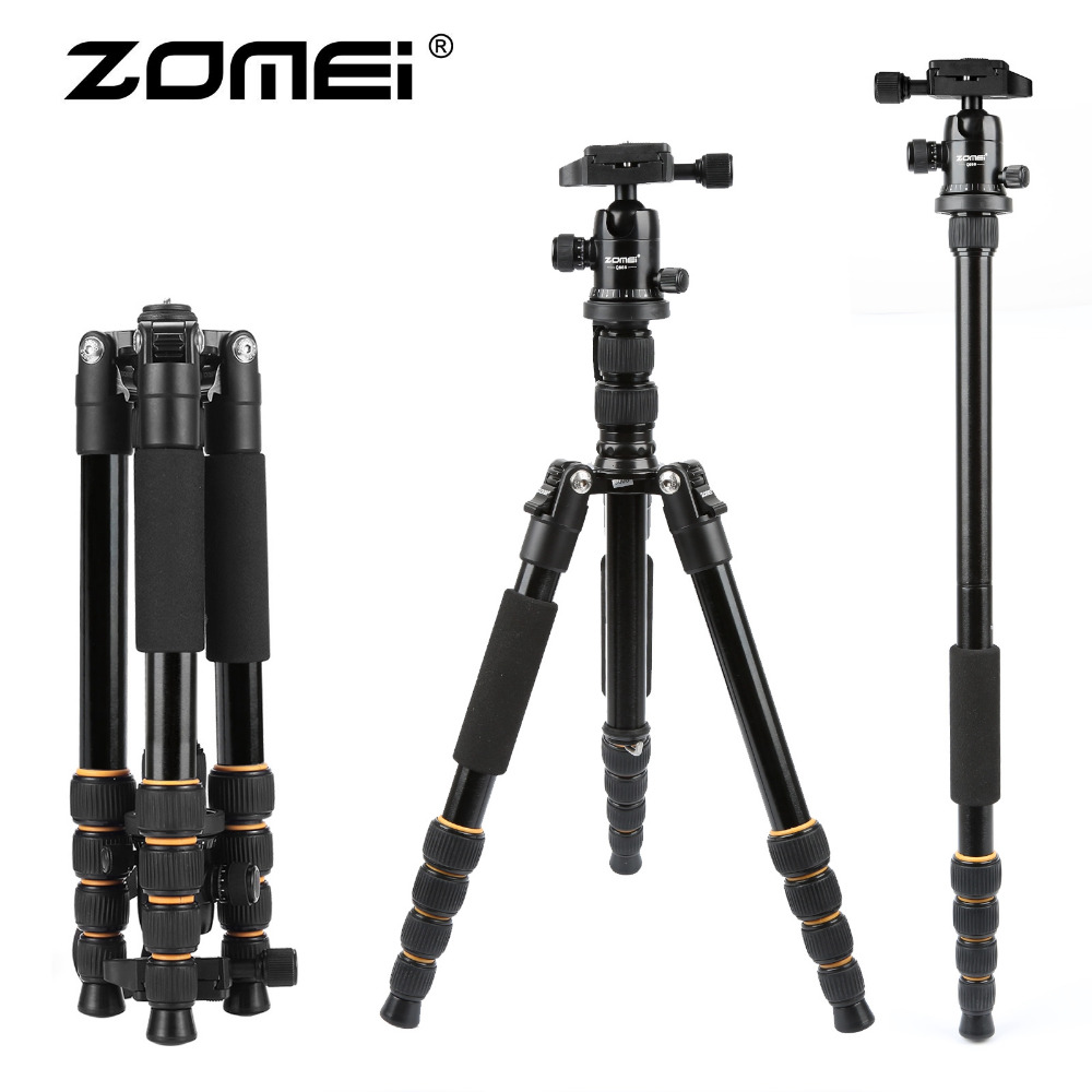 ZOMEI lightweight Portable Q666 Professional Travel Camera Tripod Monopod aluminum Ball Head compact for digital SLR DSLR camera(China (Mainland))