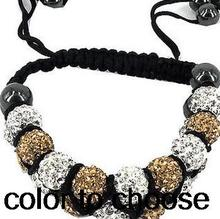 10mm two row mixed Colors handmade Available big promotion Beads micro pave disco Crystal Shamballa Bracelet women men lot(China (Mainland))