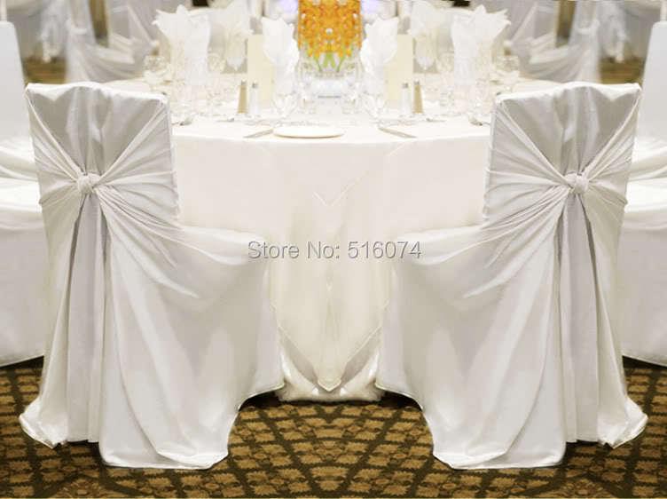Hot sale 1pcs White Tie Satin Chair Cover Wedding Banquet party Decoration Product Supplies110cm 140cm Free