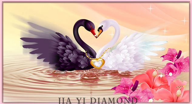 DIY diamond painting heart matched Swan Lake with square hole post drill drill 3 d diamond embroider cross-stitch(China (Mainland))