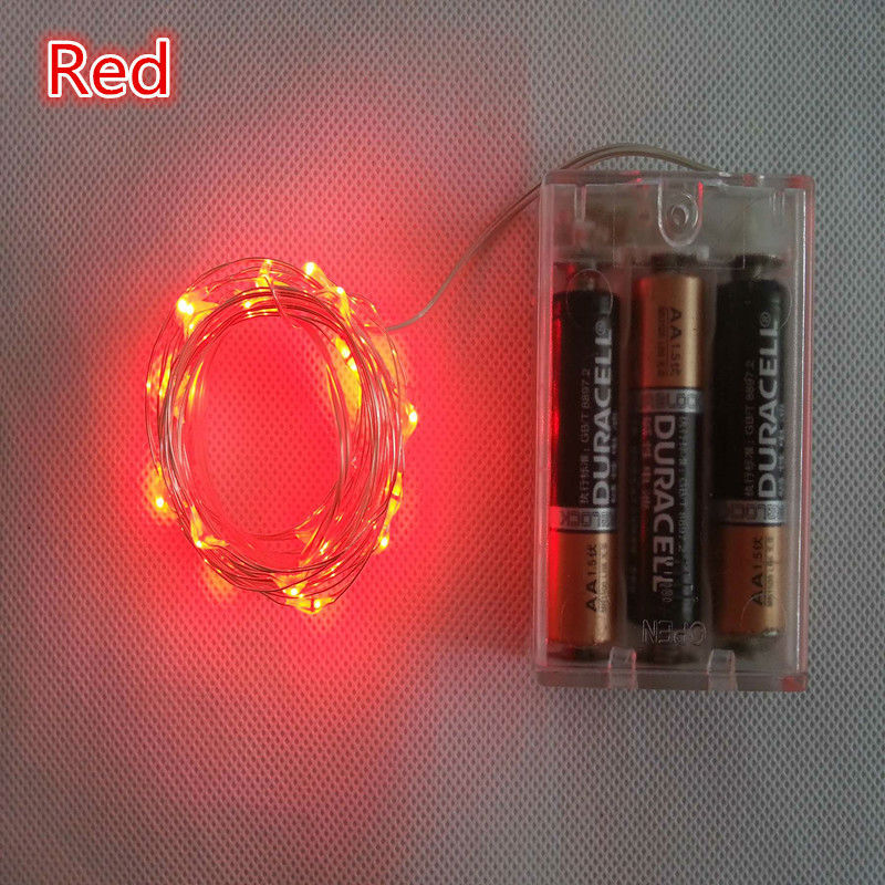 red color battery powered 2m 20 led mini led decoration silver wire