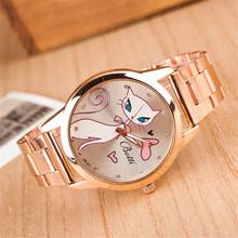 Fashion Luxury Brand Women Rose Gold Watch Ladies Casual Steel Belt Quartz Cat Watches Female Clock hodinky relogio feminino