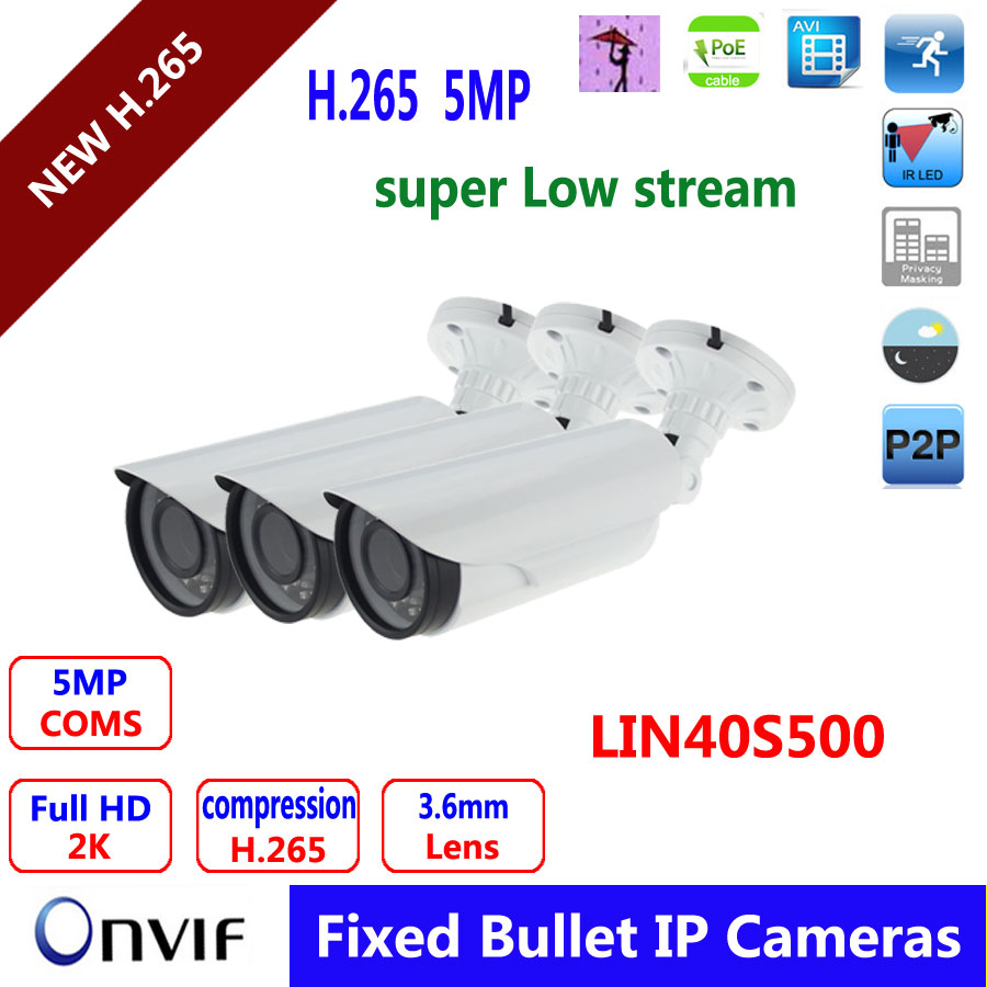 H.265 5MP IP Camera Onvif WDR 3.6mm lens HD Camera CCTV outdoor ip cam waterproof IP66 IR range 40m  P2P bullet IP Cameras<br><br>Aliexpress