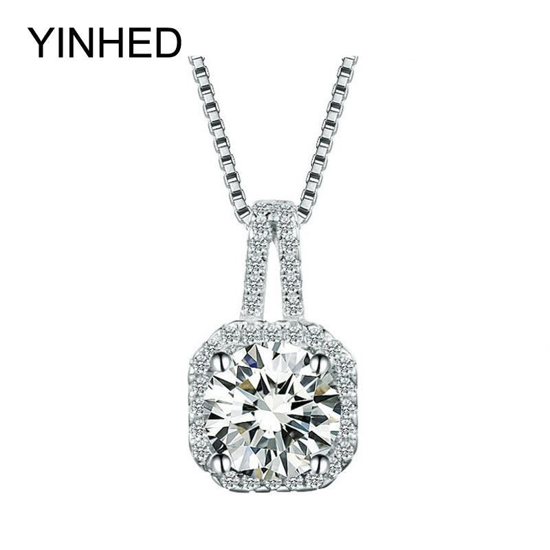90% Promotion !! YINHED 925 Sterling Silver Jewelry Necklace 2ct SONA CZ Diamond Pendant Necklace for Women Birthday Gift ZN047(China (Mainland))
