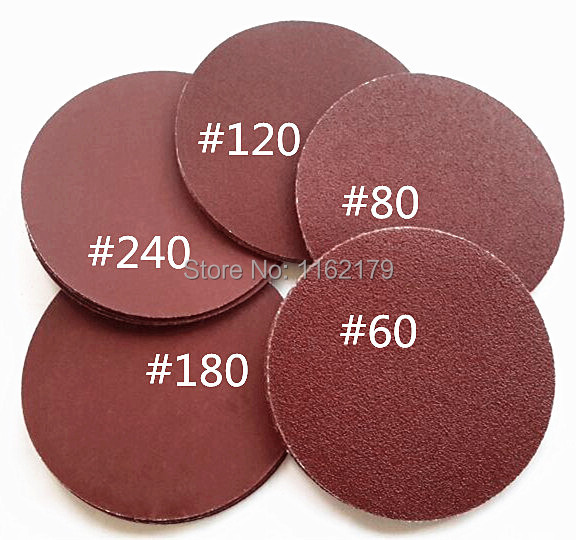 """50pc Sanding paper Sandpaper Flocking Self-adhesive for Sander 7"""" 180mm Grits 60 80 120 180 240 red round free shipping(China (Mainland))"""