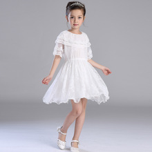 Girls Summer New Silk Children's Kids Clothing White Lace Mesh Party Wedding Dress