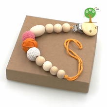Buy 2016 new Eco ORANGE melon red wooden crochet pacifier clip holder, Unisex pacifier clip, dummy holder baby girl gift NT151 for $6.57 in AliExpress store