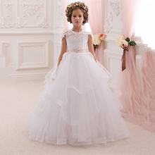 elegant long kids evening gowns flower girl dresses for weddings pink sashes lace ball gown vestido daminha communion plus size(China (Mainland))