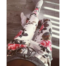 New Fashion women casual pants S-XXL Plus Size Flower Printed Womens fashion Pants 2016 Nineth Capris Casual Trousers(China (Mainland))