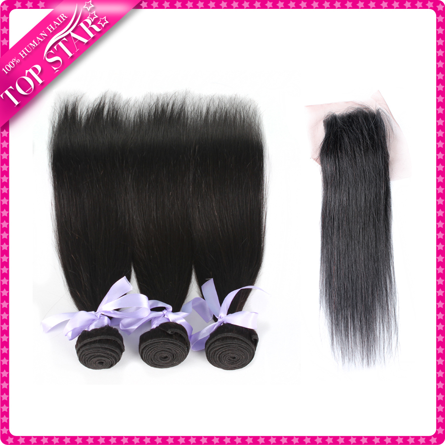 2 Bundle Peruvian Hair Straight  Bundles With Closure Sexy Formula Hair With Closure 7A Cheap Hair Bundles With Lace Closures
