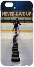 Painting Ice Hockey Never Give Up Quote Phone Case For iphone 4 4S 5 5S SE 5C 6 6S Plus For iPod Touch 4 5 6 Plastic Hard Cover