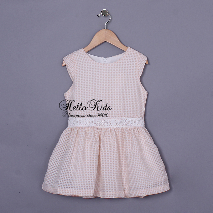 2016 Summer Elegant Girls Dresses Kids With Short Sleeve Collect Waist Vest Cotton Dress Children Baby Clothes Wear GD50404-14(China (Mainland))
