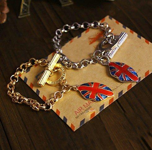 New arrivall ! fashion jewelry pendant British flag m word lips Bracelet.48pcs/lot .free shipping<br><br>Aliexpress